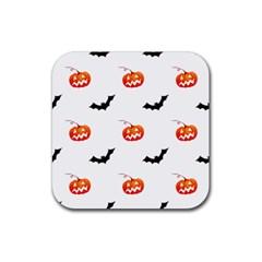 Halloween Seamless Pumpkin Bat Orange Black Sinister Rubber Coaster (square)  by Alisyart