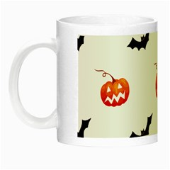 Halloween Seamless Pumpkin Bat Orange Black Sinister Night Luminous Mugs by Alisyart