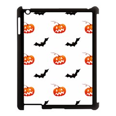 Halloween Seamless Pumpkin Bat Orange Black Sinister Apple Ipad 3/4 Case (black) by Alisyart