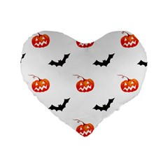 Halloween Seamless Pumpkin Bat Orange Black Sinister Standard 16  Premium Heart Shape Cushions by Alisyart