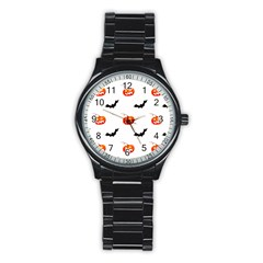 Halloween Seamless Pumpkin Bat Orange Black Sinister Stainless Steel Round Watch by Alisyart