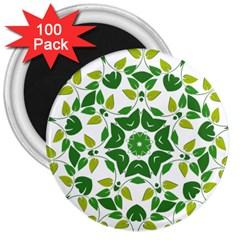 Leaf Green Frame Star 3  Magnets (100 Pack) by Alisyart