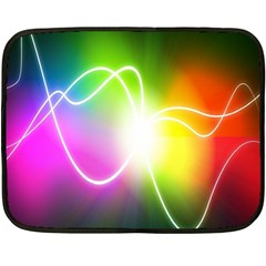 Lines Wavy Ight Color Rainbow Colorful Fleece Blanket (mini) by Alisyart