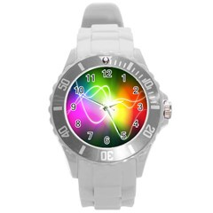 Lines Wavy Ight Color Rainbow Colorful Round Plastic Sport Watch (l) by Alisyart