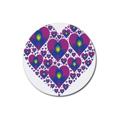 Heart Love Valentine Purple Gold Rubber Coaster (round)