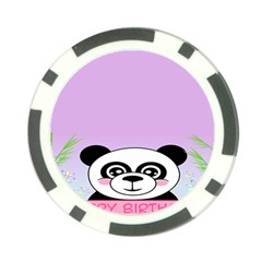 Panda Happy Birthday Pink Face Smile Animals Flower Purple Green Poker Chip Card Guard by Alisyart