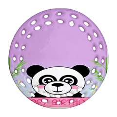Panda Happy Birthday Pink Face Smile Animals Flower Purple Green Round Filigree Ornament (two Sides) by Alisyart