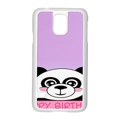 Panda Happy Birthday Pink Face Smile Animals Flower Purple Green Samsung Galaxy S5 Case (white) by Alisyart
