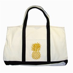 Pineapple Glitter Gold Yellow Fruit Two Tone Tote Bag by Alisyart