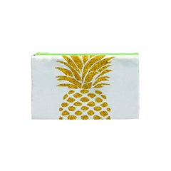 Pineapple Glitter Gold Yellow Fruit Cosmetic Bag (xs) by Alisyart