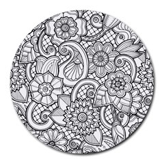 These Flowers Need Colour! Round Mousepads by Simbadda