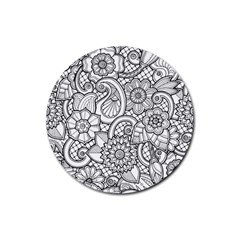 These Flowers Need Colour! Rubber Round Coaster (4 Pack)  by Simbadda