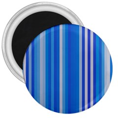 Color Stripes Blue White Pattern 3  Magnets by Simbadda