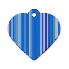 Color Stripes Blue White Pattern Dog Tag Heart (two Sides) by Simbadda