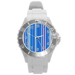 Color Stripes Blue White Pattern Round Plastic Sport Watch (l) by Simbadda