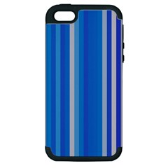 Color Stripes Blue White Pattern Apple Iphone 5 Hardshell Case (pc+silicone) by Simbadda