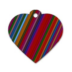 Color Stripes Pattern Dog Tag Heart (one Side)