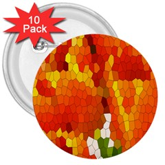 Mosaic Glass Colorful Color 3  Buttons (10 Pack)  by Simbadda