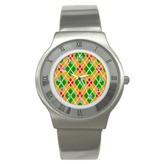 Colorful Color Pattern Diamonds Stainless Steel Watch by Simbadda
