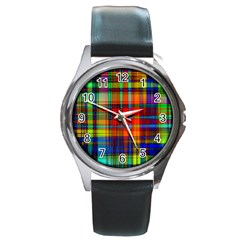 Abstract Color Background Form Round Metal Watch by Simbadda