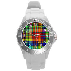 Abstract Color Background Form Round Plastic Sport Watch (l) by Simbadda