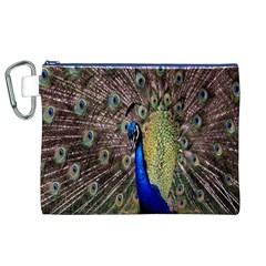 Multi Colored Peacock Canvas Cosmetic Bag (xl) by Simbadda