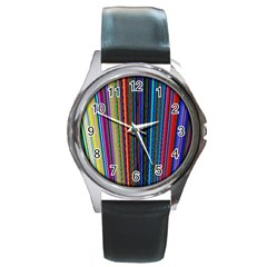 Multi Colored Lines Round Metal Watch by Simbadda