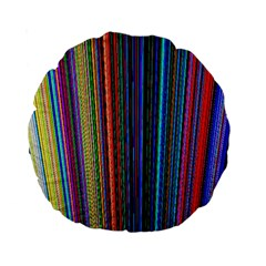 Multi Colored Lines Standard 15  Premium Round Cushions by Simbadda