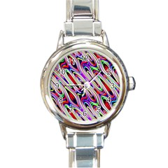 Multi Color Wave Abstract Pattern Round Italian Charm Watch by Simbadda