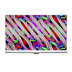 Multi Color Wave Abstract Pattern Business Card Holders by Simbadda