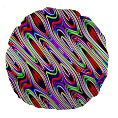 Multi Color Wave Abstract Pattern Large 18  Premium Round Cushions by Simbadda