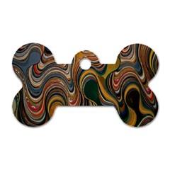 Swirl Colour Design Color Texture Dog Tag Bone (one Side)