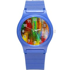 Color Abstract Background Textures Round Plastic Sport Watch (s) by Simbadda