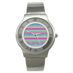 Backgrounds Pattern Lines Wall Stainless Steel Watch by Simbadda