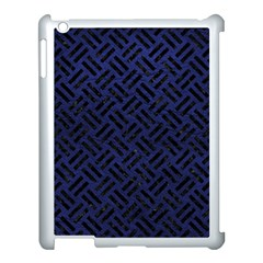 Woven2 Black Marble & Blue Leather (r) Apple Ipad 3/4 Case (white) by trendistuff