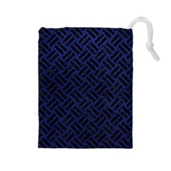 Woven2 Black Marble & Blue Leather (r) Drawstring Pouch (large) by trendistuff