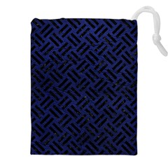 Woven2 Black Marble & Blue Leather (r) Drawstring Pouch (xxl) by trendistuff