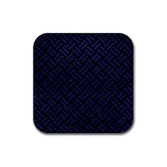 Woven2 Black Marble & Blue Leather Rubber Square Coaster (4 Pack) by trendistuff