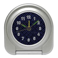 Woven2 Black Marble & Blue Leather Travel Alarm Clock by trendistuff