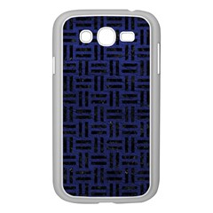Woven1 Black Marble & Blue Leather (r) Samsung Galaxy Grand Duos I9082 Case (white) by trendistuff