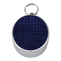 Woven1 Black Marble & Blue Leather (r) Silver Compass (mini) by trendistuff