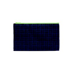 Woven1 Black Marble & Blue Leather (r) Cosmetic Bag (xs) by trendistuff