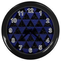 Triangle3 Black Marble & Blue Leather Wall Clock (black) by trendistuff