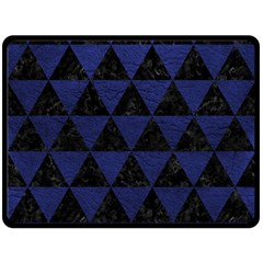 Triangle3 Black Marble & Blue Leather Fleece Blanket (large) by trendistuff