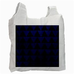 Triangle2 Black Marble & Blue Leather Recycle Bag (one Side) by trendistuff
