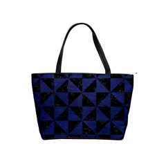 Triangle1 Black Marble & Blue Leather Classic Shoulder Handbag by trendistuff