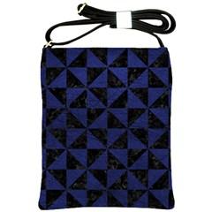 Triangle1 Black Marble & Blue Leather Shoulder Sling Bag by trendistuff