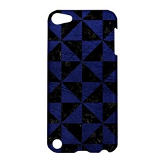 Triangle1 Black Marble & Blue Leather Apple Ipod Touch 5 Hardshell Case by trendistuff