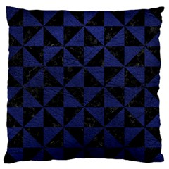 Triangle1 Black Marble & Blue Leather Large Flano Cushion Case (one Side) by trendistuff
