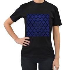 Tile1 Black Marble & Blue Leather (r) Women s T Shirt (black) by trendistuff